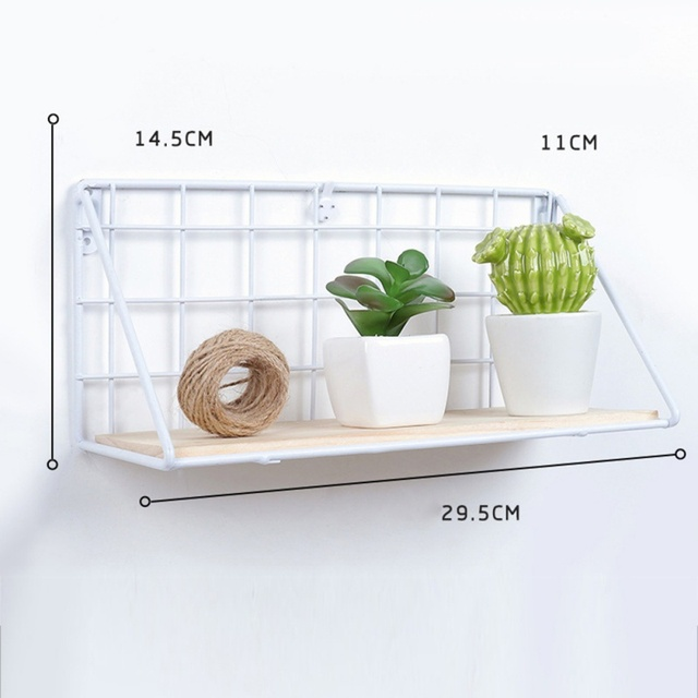 Nordic Wooden Iron Wall Floating Shelf Mounted Storage Rack Organization Bedroom Kitchen Home Kid Room Diy Decoration Holder 4