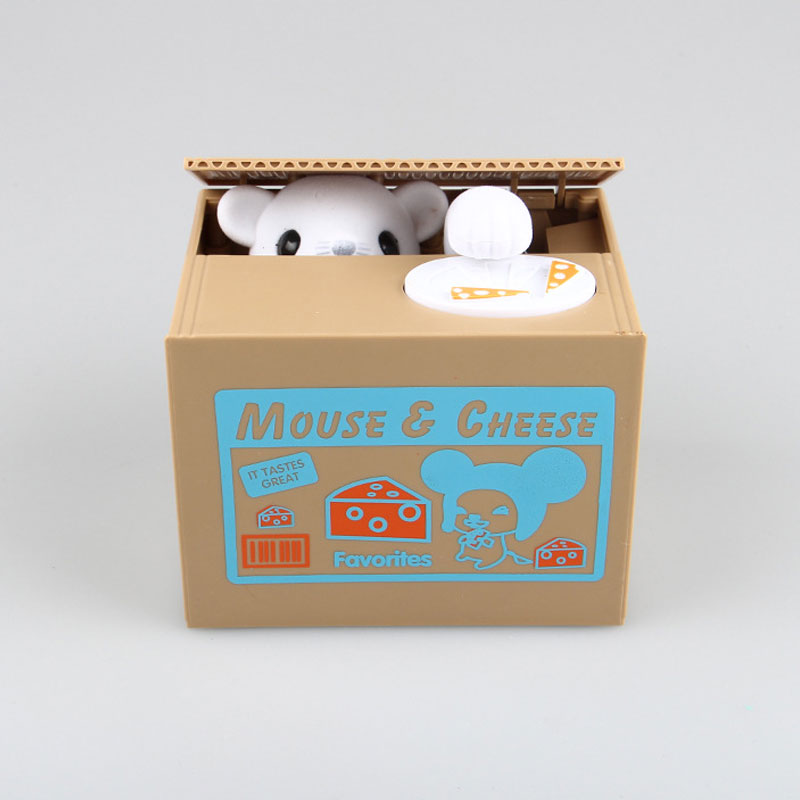 Best Christmas Gift Mini Mouse Dog Eating Piggy Bank Adorable Kids Dolls Monkey Cats Stealing Money Coin Safe Box Savings Toys