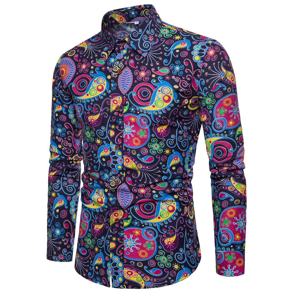 2018 Cotton Spring Autumn New Men's Fashion Flower Printed Long Sleeve Shirts Male Slim Vintage Casual Shirt M- XXXL 4XL 5XL 4