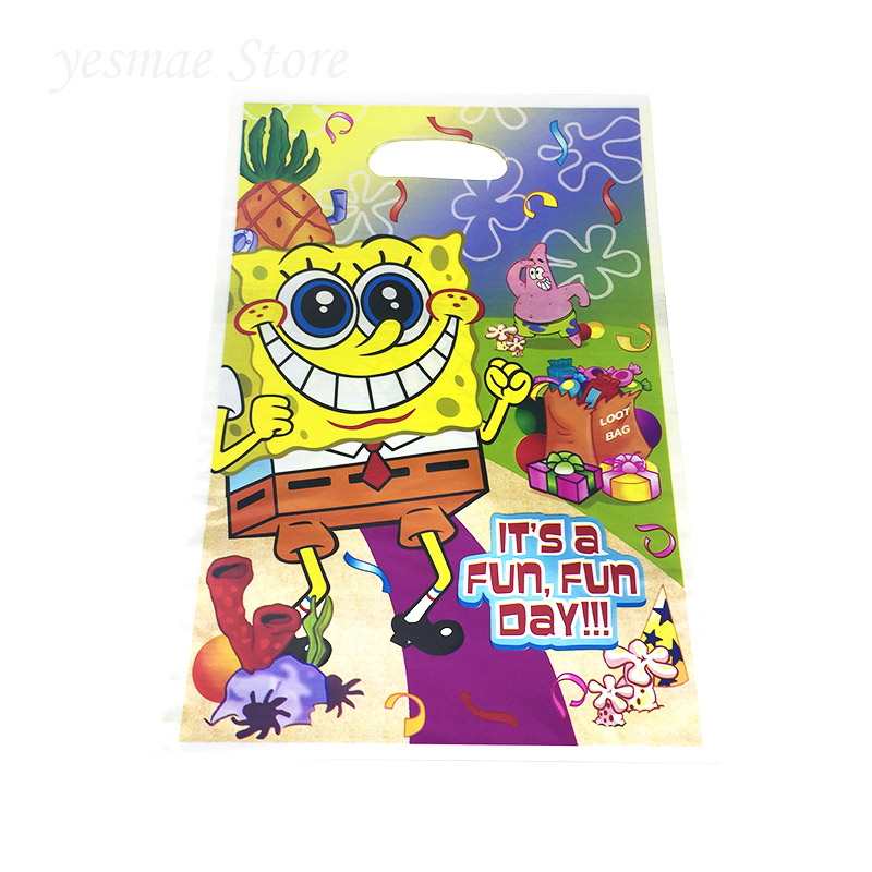 10pcs Spongebob Bags Kids Birthday Wedding Party Supplies Emoji