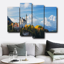 Laeacco 4 Panel Winter Castle Posters and Prints Wall Artwork Living Room Vintage Nordic Home Decoration Canvas Painting