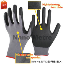 NMSafety super thin foam black nitrile anti slip repair gloves,gloves for repair car,oil proof glove