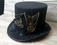 Handmade Steampunk Retro Vintage Top Hat Gothic Wool Victorian Hats With Gears Lace Wings Chain Party