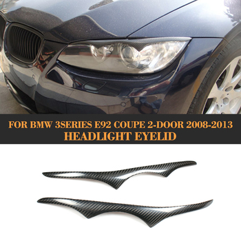 Real Carbon Fiber Front Headlight Cover Trim Eyebrows for BMW 3 Series E92 M3 Coupe 2 Door 2008 - 2013 Eyelids Eyebrows Trim image