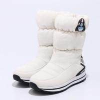 2018 winter girls snow boots warm plush Princess boots waterproof non slip children winter shoes platform size 31 39 with gift