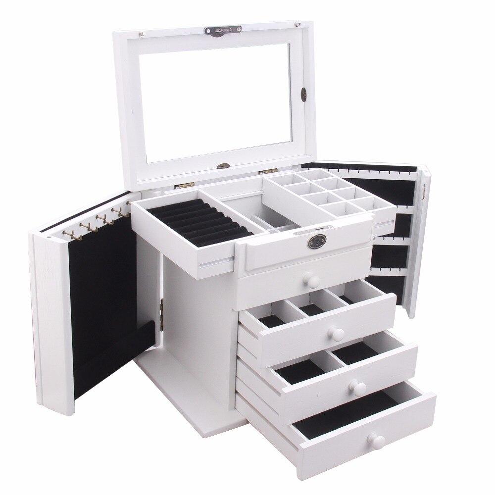 Cajas de almacenamiento de madera grandes blancas con cerraduras y cajas de joyería anillos pendientes pulseras organizador 5 capas soporte de espejo-in Envase y exposición de joyería from Joyería y accesorios    2