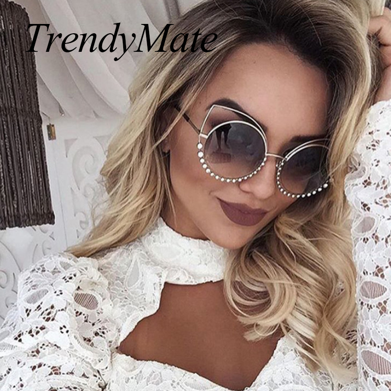 Hot 2018 Fashion Sunglasses Women Luxury Brand Designer Vintage Sun glasses Female Rivet Shades Big Frame Style Eyewear 364M 2