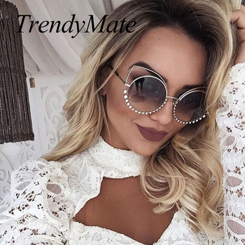Hot 2018 Fashion Sunglasses Women Luxury Brand Designer Vintage Sun glasses Female Rivet Shades Big Frame Style Eyewear 364M 2