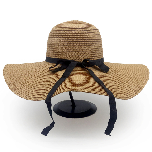 dropshipping Hot Sale Fashion Bowknot Summer Sun Hats for women Beautiful  Women Straw Beach Hat Large Brimmed Hat cda41b09e3c