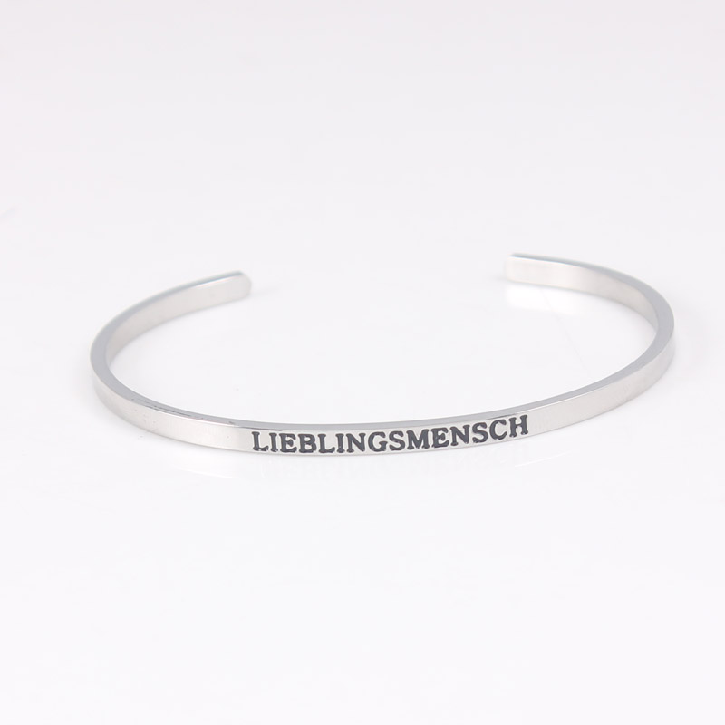 Hot Sale New Fashion Stainless Steel Open Cuff Women fashion Engraved Words Mantra Bracelet Bangle Jewelry