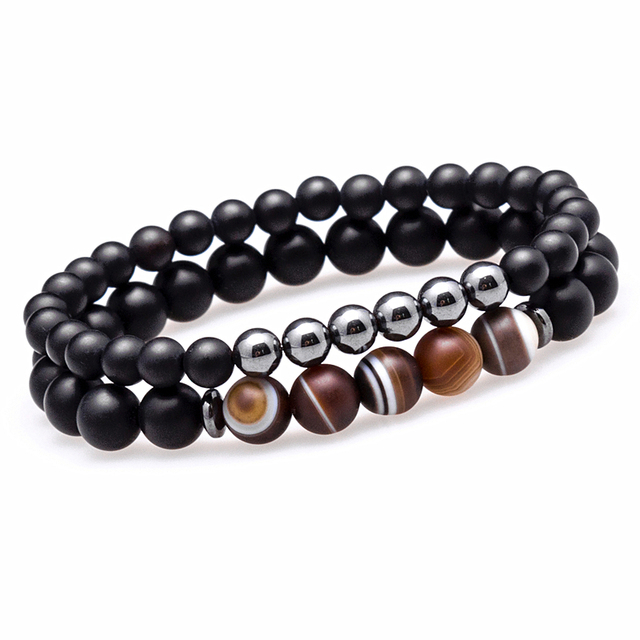 Lucky Gem Fashion Matte Striped Beads Mantra Prayer Beads Buddha 2pcs/set Bracelet for Women&Mens Hematite Pulseras Masculina