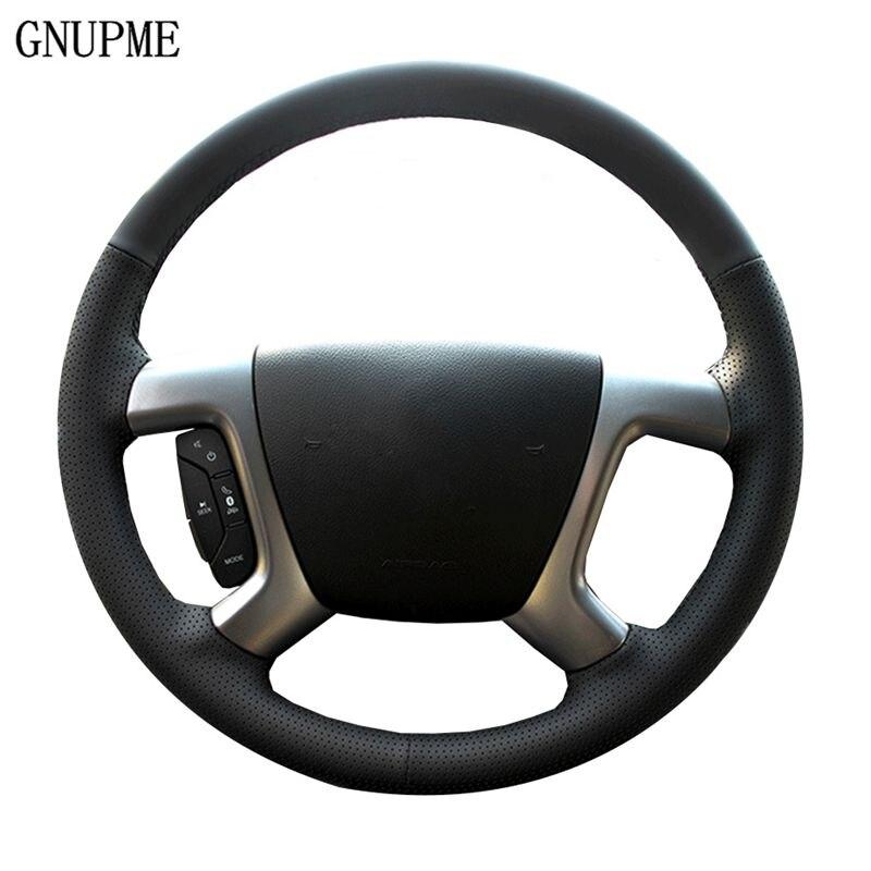 GNUPME Qualità Nero del Cuoio Genuino Copertura del Volante Dell'automobile per Chevrolet Captiva Epica Speciale cucito a mano Fodere per lo sterzo