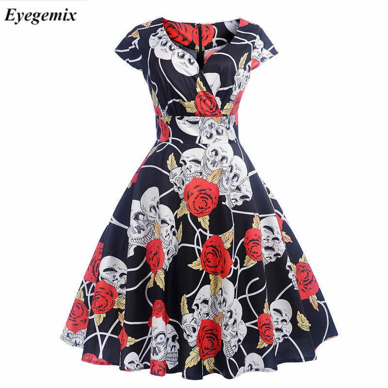 4ec742289f567 2019 V-Neck Big Swing Vintage Christmas Dress Women Summer 50s Elegant  Party Dresses Casual Short Sleeve Floral Plus Size Dress