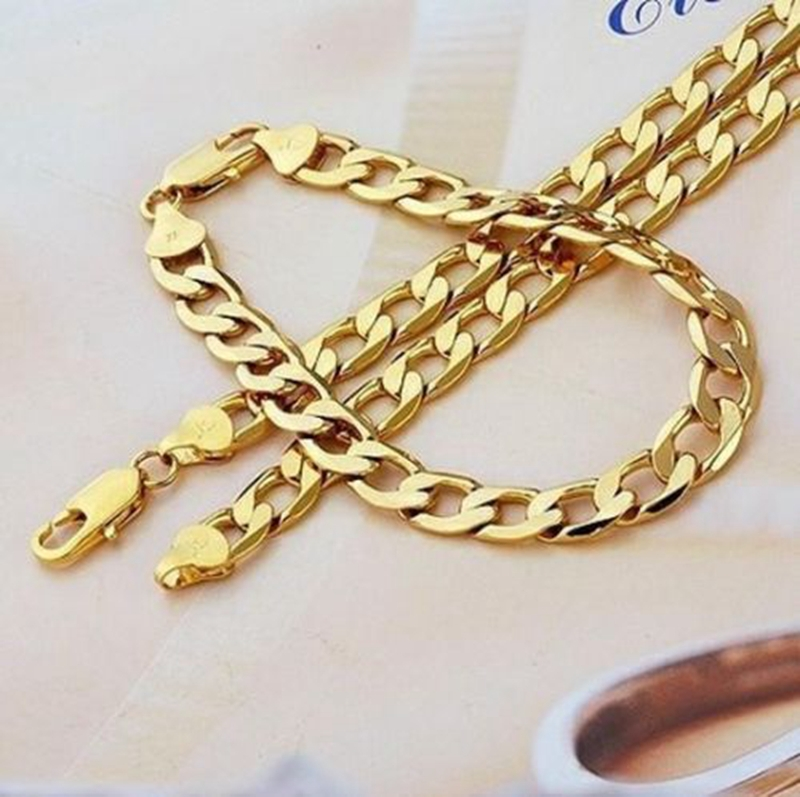 Fashion Jewerly Set Yellow Gold Filled Necklace Bracelet For Women And Men 23 6 9 In Jewelry Sets From Accessories On Aliexpress