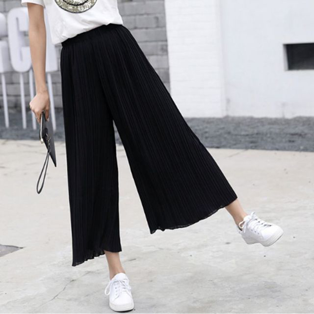 2019 New Summer Spring New Fashion Tide Black Casual Loose Elastic Waist High Pleated   Wide     Leg   Women Chiffon Loose   Pants