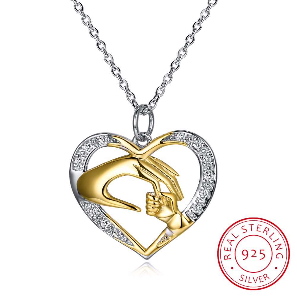 Mother And Child Gift For Mom Golden Hand in hand Heart Love