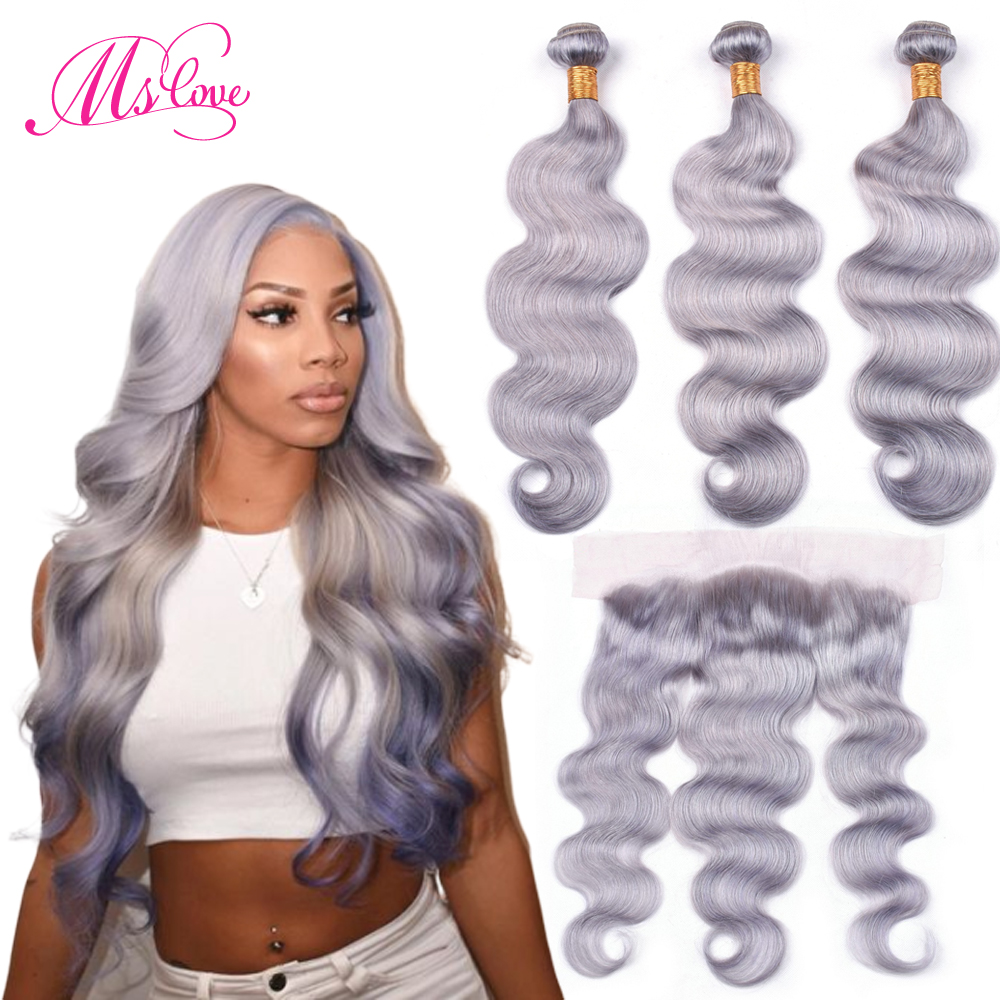 Ms Love Grey Bundles With Frontal Closure 13x4 Body Wave Grey Human Hair Bundles With Closure
