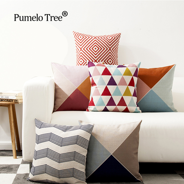 US $4.79 30% OFF|Red Striped Geometric Decorative Throw Pillows Case for  Sofa Seat Cotton Linen Cushion Cover Creative Home Decoration 45X45cm-in ...