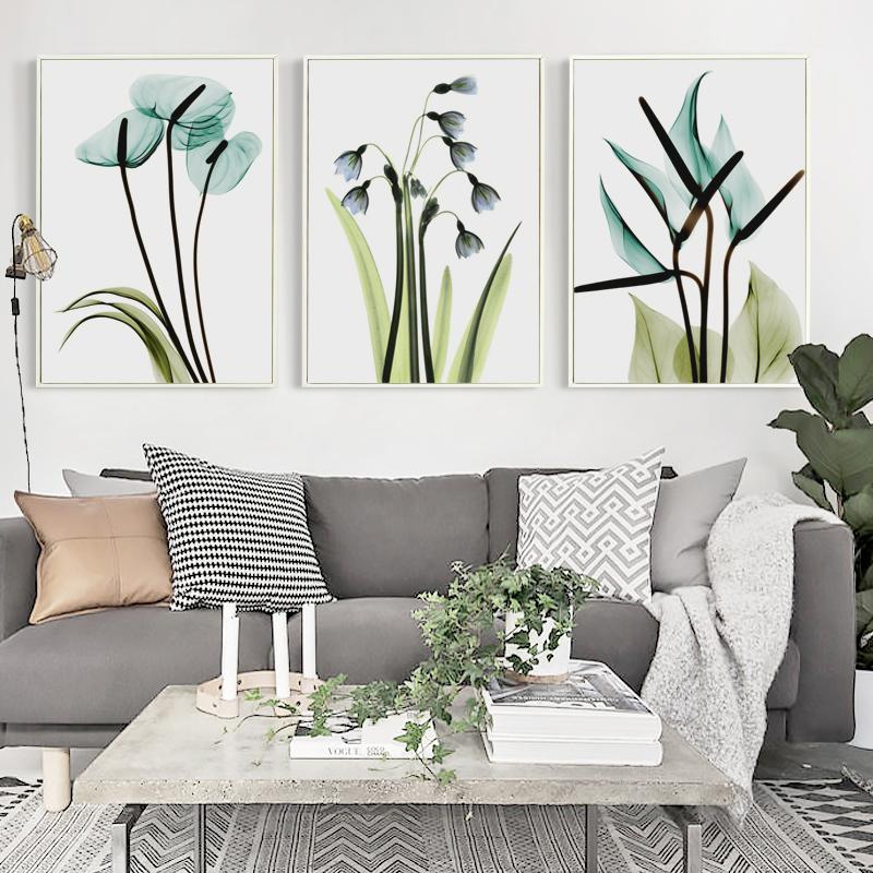 bianche pared moderna minimalista azul flores pintura de la lona imagen home dormitorio decoracin de