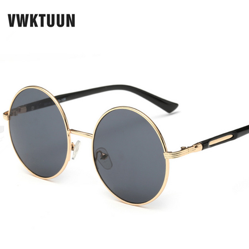 VWKTUUN Oversized Retro Round Solglasögon Kvinnor Märkes Designer Vintage Sun Glasses For Female Eyewear Steampunk Mirror Glasses
