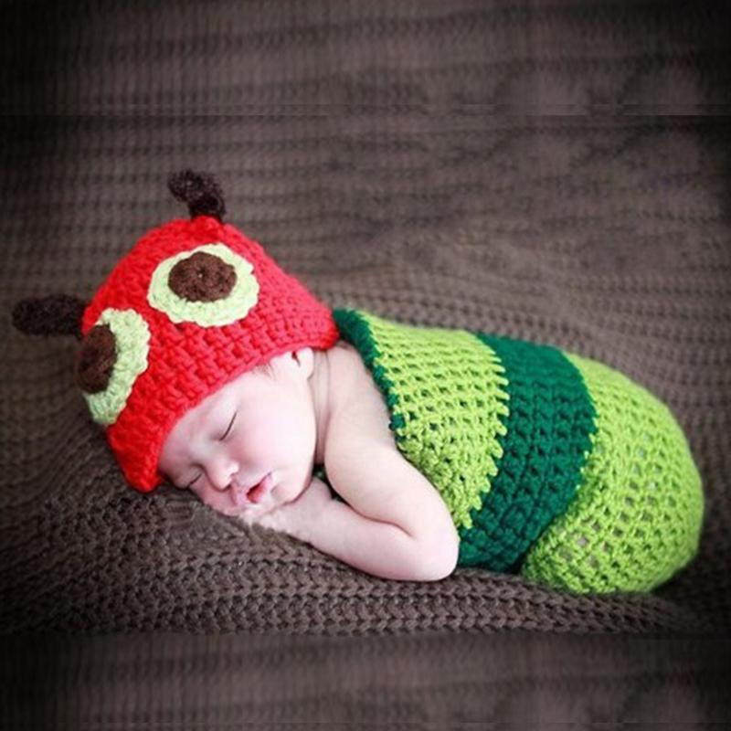 ca233ae88 US $9.46 17% OFF|Newborn Baby Prop Clothing Set Sleeping Bag with Hat  Stylish Worm Caterpillar Crochet Knit Costume Photography Prop Outfit-in ...