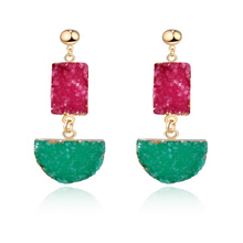 Dayoff Handmade Resin Stone Large Earings For Women Jewelry Square Semicircle Earrings Fake Druzy Drusy Earing Long Earring E120