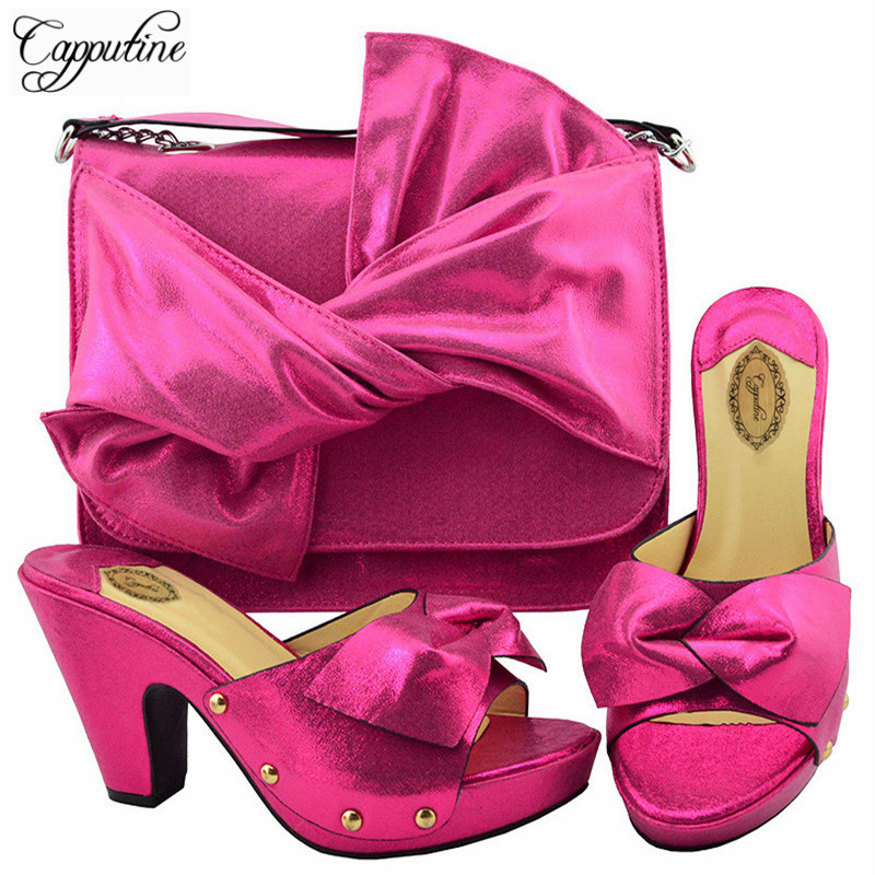 Capputine High Quality Italian Shoes With Matching Bags Set African Style Women High Heels Shoes And Bag Set For Wedding Dress capputine european style elegant rhinestone shoes and bags set african style woman high heels shoes and bags for wedding party
