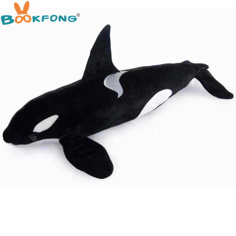 BOOKFONG simulation Marine animal large killer whale plush toy throw pillow Photography props birthday gift 120cm one piece huge plush simulation black killer whale toy new whale pillow doll gift about 120cm