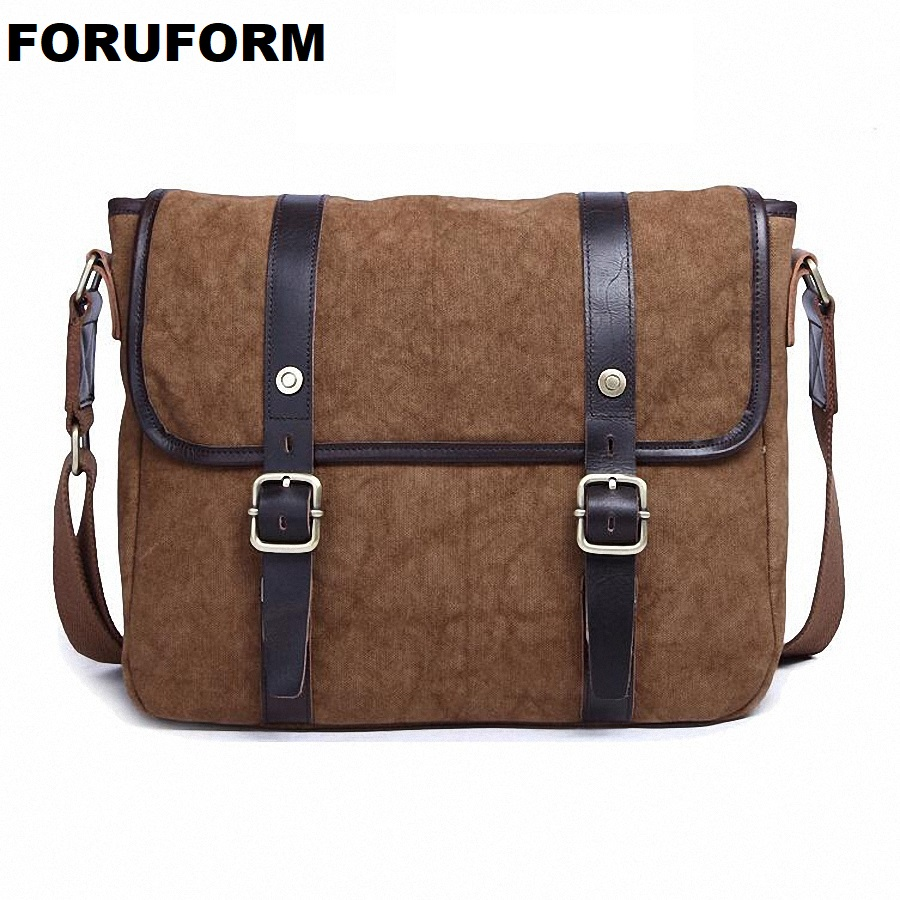 все цены на Vintage Style Men's Messenger Bags Canvas Shoulder Handbag Fashion Men Business Crossbody Bag Printing Travel Handbag LI-1631