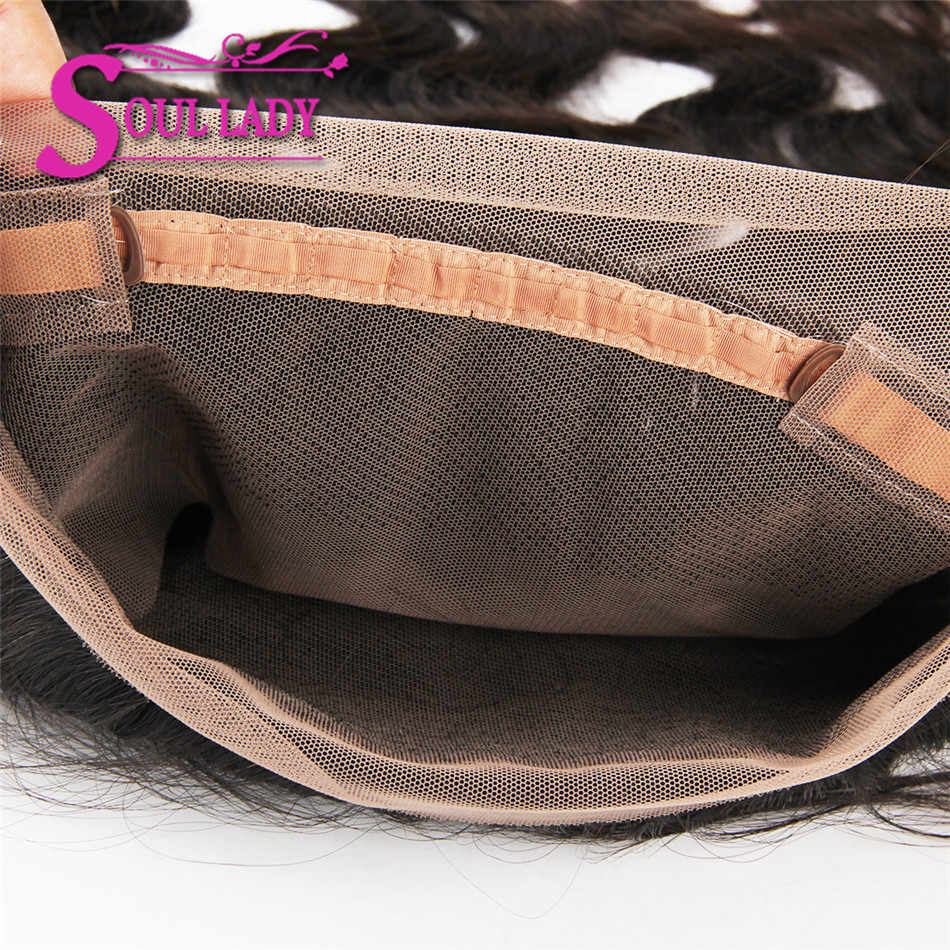 Soul Lady 360 Lace Frontal Brazilian Deep Wave Human Hair Free Part Pre-plucked Closure Swiss Lace Remy Hair 1Piece 10-20inch