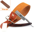 ZY Straight Razor Shave Ready Beech Wood Handle Shave Shaving Leather Strop Paste