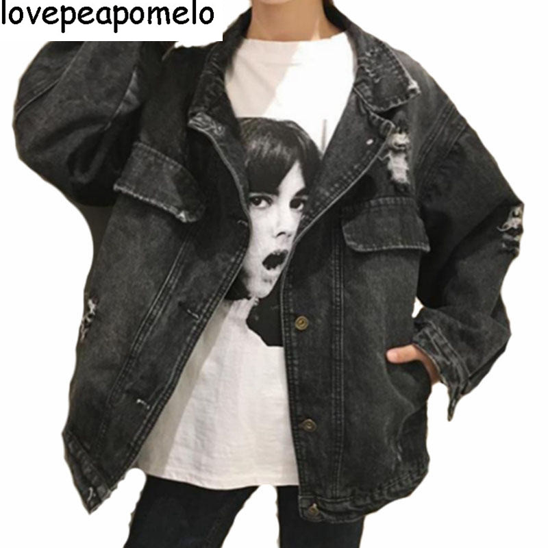 Denim   Jacket   Women 2018 Vintage Fashion Jeans Overcoat Ladies   Jacket   Tops Turn Down Collar Slim Black   Basic     Jacket   Clothing D307