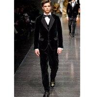 Черный велюр куртка брюки набор Slim Fit мужской костюм женихов Для мужчин смокинг жениха Regular Fit бархатном мужской костюм s (куртка + брюки + жиле
