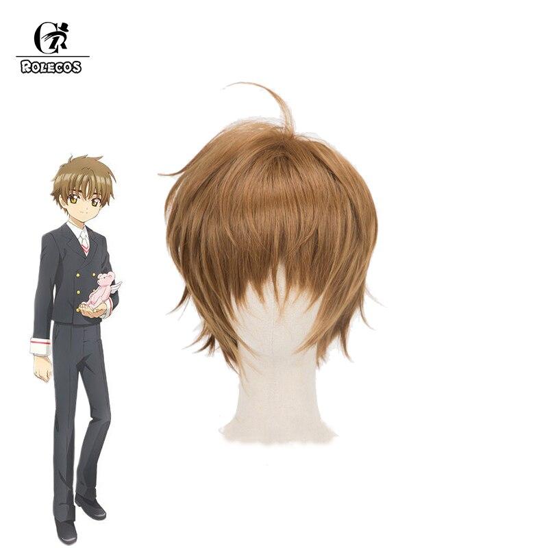 ROLECOS Anime Cosplay Cardcaptor Sakur Clear Card Shaoran Li Cosplay Headwear Short Brown Synthetic Hair