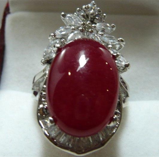 wholesale noble & elegant ladys red jades GP inlay ring #7,8,9