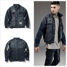 2017 NEW Men Jeans Jacket Clothes Hip Hop Ripped Hole Denim Clothing Jackets Coat Jean Denim Jacket Streetwear Rap Coat Man