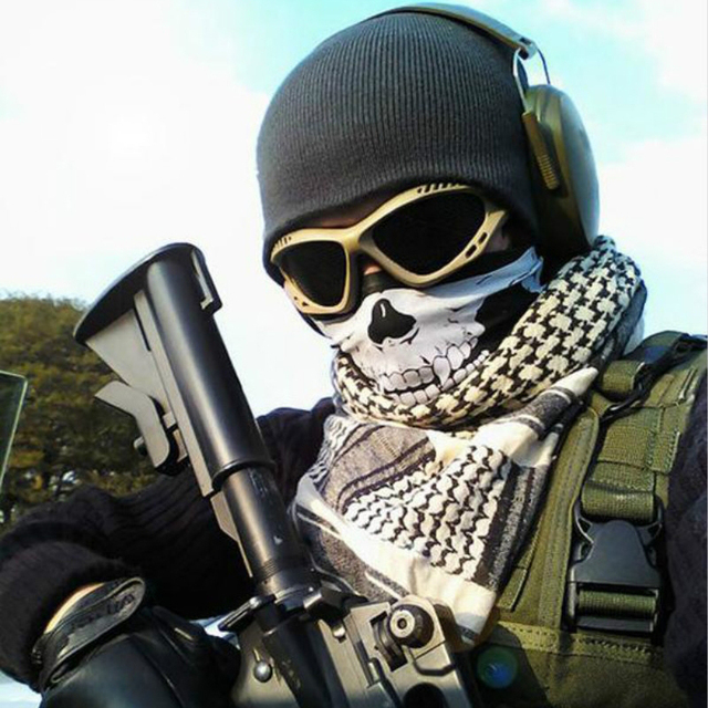 Vexverm Motorcycle  Face Mask Face Scarf Shield SKULL Ghost Face Windproof Mask Sun Mask Balaclava Party Bicycle Bike Masks 3