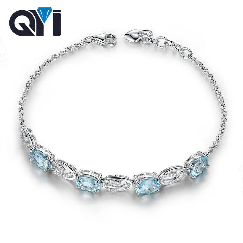 QYI 925 Sterling Silver Bracelets Natural sky Blue Topaz 3 ct Oval cut Gemstone Bracelets For Women Color Gems Wedding gift