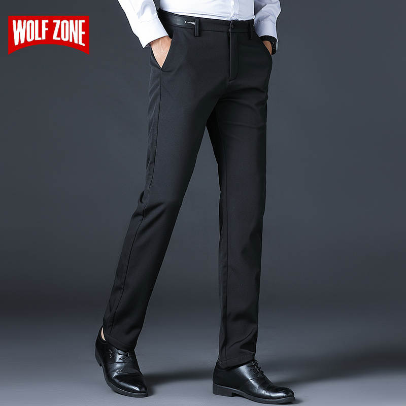 New Fashions Brand Men Pants 2020 Spring Summer Classic Mens clothes Black  Business Casual man Trousers Big Size 29-40-Leather bag