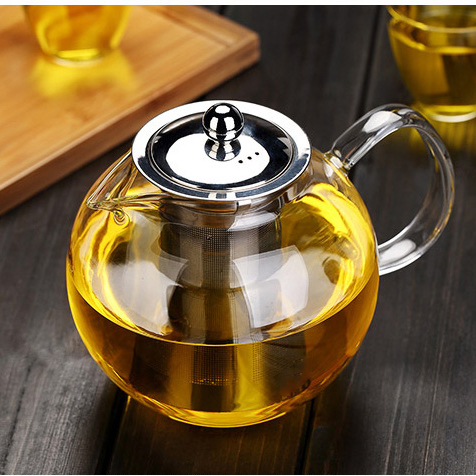 Apple Shape Glass Kettle Teapot Cambered Hyaline Stainless Steel Filter Heat Resistant Tea Sets Puer Kettle