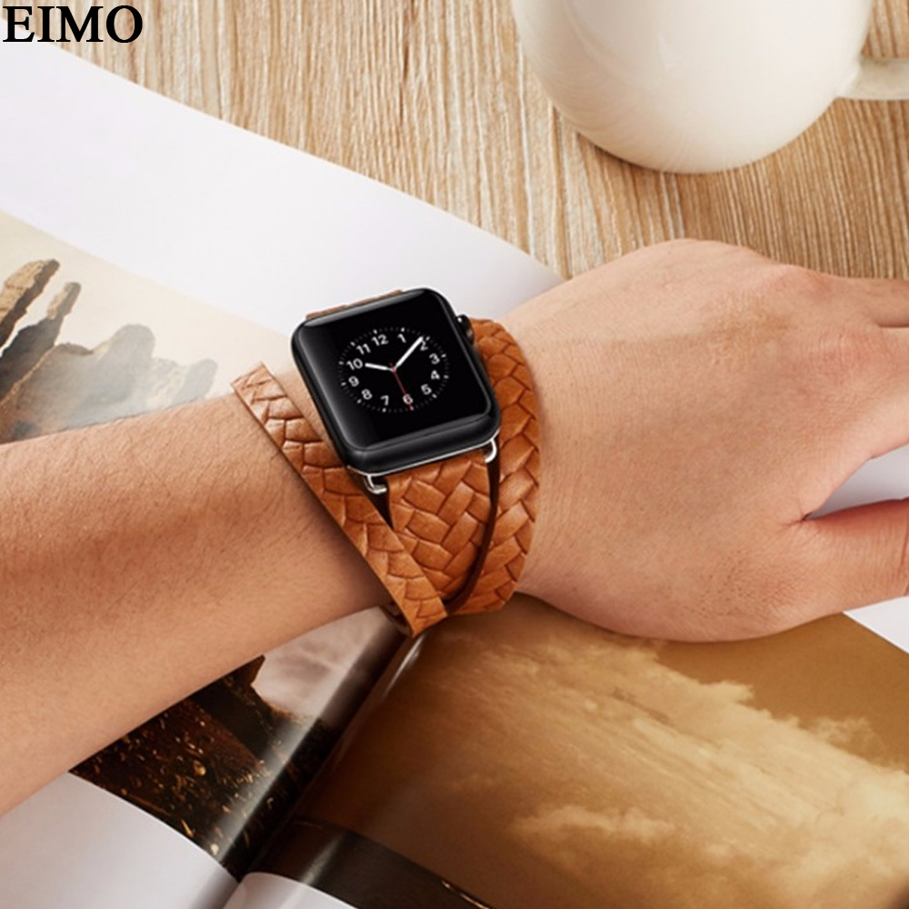 EIMO Genuine Leather Woven band Strap for apple watch iWatch Series 3 2 1 38mm 42mm Bracelet Wrist Double Tour Loop Watchband fohuas series 2 1 genuine leather loop for apple watch band double tour 42mm for apple watch leather strap 38mm bracelet women