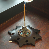 Acid Branch Wood Incense Seat Plate Hand Carving Owl Incense Burners Creative Buddha Supplies