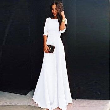 d8da47b7f09128f Женское летнее шифон платье элегантный три четверти рукав Длинные платья  Белый Черный Вечерние платья халат Femme Vestidos