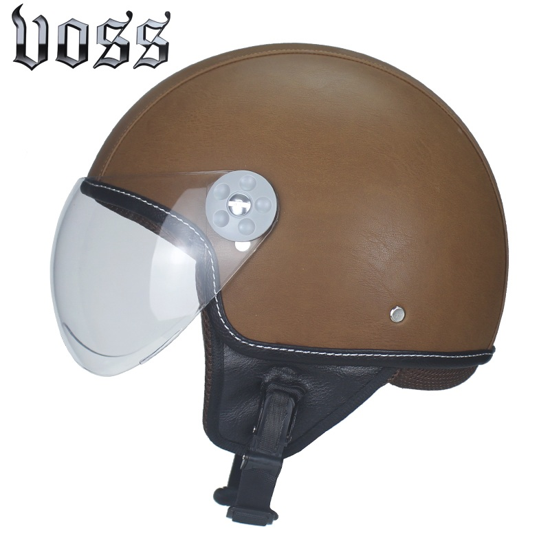 High quality adult leather motorcycle Harley helmet retro half cruise helmet Prince motorcycle helmet with clear lens DOT