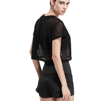 BESGO Sport Suit Women Letters Printed Sports Tops +Mesh Breathable Running Fitness Shirts+Double Layer Compression Yoga Shorts