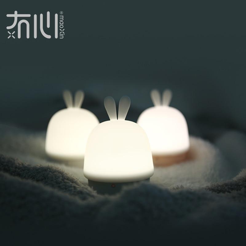Maoxin new usb light led lamp soft silicone cute rabbit design 1W small pat night light gadget