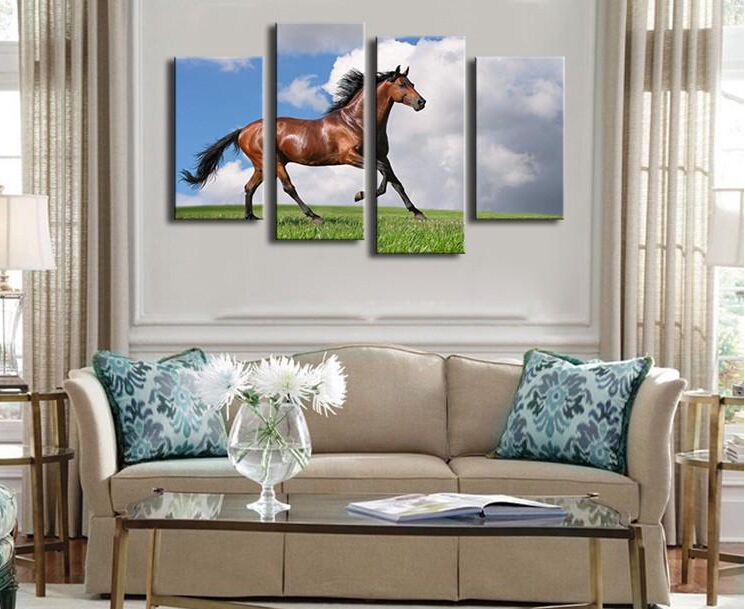 4 Panels horse art large picture frames Wall painting print on ...