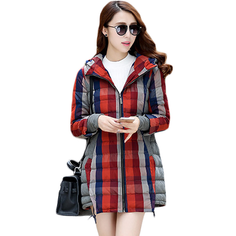 2017 Warm Winter Coat Female Thick Plaid Long-sleeved Hooded Parkas Comfortable Fashion Loose Slim Cotton Overcoat Womens XH519 2017new women winter leisure coat warm fur collar hooded womens parkas female long sleeve zipper good overcoat thick cotton coat