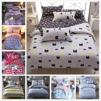 Cute Kitty Cat Pattern Stripe Duvet Cover 3/4 pcs Bedding Set Kids Child Soft Bed Linen Single Twin Full Queen King Size 180x220