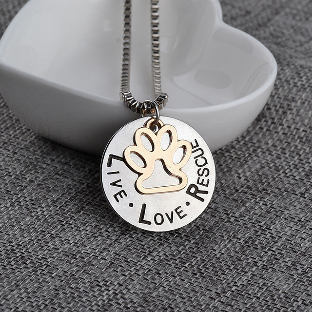Miss Zoe Lettering LIVE LOVE RESCUE Hollow Gold Paw Claw Pendant Necklace Angel Pet Simple Jewelry Special Gift Adopt Dog Lovers 4